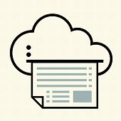 Cloud with printing.Cloud computing concept. Vector