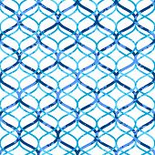 Abstract blue lattice on white grunge seamless pattern, vector