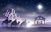 stock photo of birth  - Christmas Christian nativity scene with baby Jesus in the manger in silhouette three wise men or kings and star of Bethlehem with the city of Bethlehem in the distance - JPG