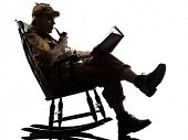 sherlock holmes reading silhouette sitting in rocking chair in studio on white background