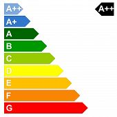 pic of fuel efficiency  - Energy efficency scale from dark green A to red G in white background - JPG