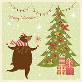 Christmas card, funny bear dance