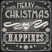 Vintage Merry Christmas Text On A Blackboard