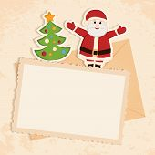 Congratulation Gold Retro Background With Santa Claus, Christmas Tree And Letter.