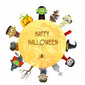 pic of wolfman  - easy to edit vector illustration of Creepy character wishing Happy Halloween - JPG