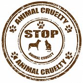 stock photo of animal cruelty  - Grunge rubber stamp with text Stop Animal Cruelty - JPG