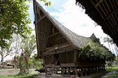 image of minangkabau  - traditional batak style house at lake toba - JPG