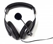 Headphones With Microphone On White Background.