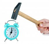 picture of stop hate  - Hammer in hand and alarm clock isolated on white - JPG