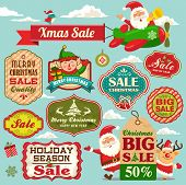 Christmas sale tags, labels and illustrations design elements collection