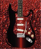 stock photo of superimpose  - A cola bubble background pattern with a rock guitar superimposed - JPG