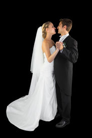 picture of waltzing  - Lovely young young married couple dancing viennese waltz on black background - JPG