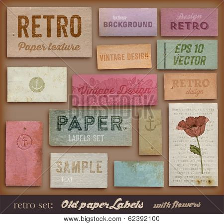 Scrapbooking set. Old paper textures, Different Aged Paper Elements Collection for Your Layouts. Eng poster
