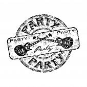 picture of office party  - Black grunge rubber stamp with two crossed guitars and the word party written inside the stamp - JPG