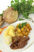 picture of rutabaga  - Game stew with turnips vegetables and potatoes  - JPG