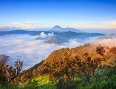 picture of bromo  - Bromo volcano at sunriseTengger Semeru national park East Java Indonesia - JPG