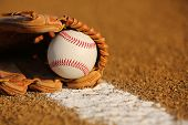 picture of infield  - New Baseball in a Glove in the Infield - JPG