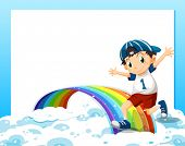 Illustration of an empty template with a boy playing above the clouds and the rainbow