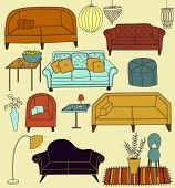 Doodle Furniture and Home Accessories - Hand drawn set of retro style furniture and accessories, including sofas, love seats, armchairs, crystal chandeliers and lamps