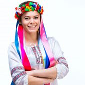 picture of national costume  - young happy woman  in the national Ukrainian costume isolated - JPG