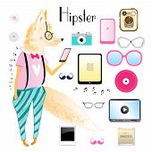 Hipster Fox And Objects