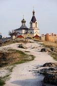 Christian Orthodox church in Old Orhei, Moldova, in rays of sunset