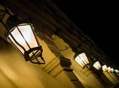 Liston street at night on Corfu island, Greece