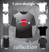 T-shirts template with gym element
