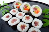 Sushi rolls on the tray