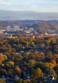 image of knoxville tennessee  - View of Knoxville in autumn with Smoky Mountains - JPG