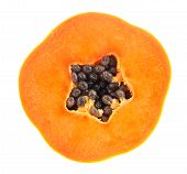 picture of pawpaw  - fresh ripe juicy papaya slice on white background - JPG