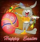 image of duck egg blue  - Rabbit and Easter Egg - JPG