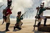 Soldiers Firing At The Enemy In Representation Of The Battle Of Bailen, Bailén  Jaén Province, Andal