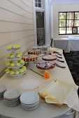 Buffet table with variety of desserts