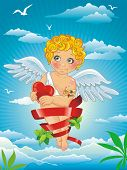 Happy Holidays Greeting With Cute Baby Cupid