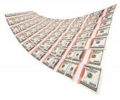 pic of 100 dollars dollar bill american paper money cash stack  - stack of dollars isolated on a white background - JPG