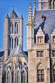 Belfry Of Ghent, Belgium And Saint - Nicholas Church