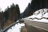 Contrasting, Winding Black Forest Road In The Snow