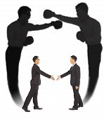image of courtesy  - Asian businessman handshake with fighting shadow on white background - JPG