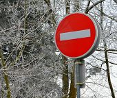 A Bold Do Not Enter Sign With A Snowy Forest Background