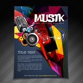 vector music party brochure flyer template design