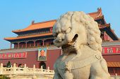 BEIJING, CHINA - APR 1: Tiananmen exterior with lion statue on April 1, 2013 in Beijing, China. It i