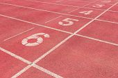 Start Track. Line On A Red Running Track