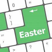 Easter Text Button On Computer Keyboard Keys