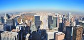 New York City skyscrapers in midtown Manhattan aerial panorama view in the day with Central Park and