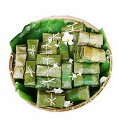 Thai Dessert in banana leaf.