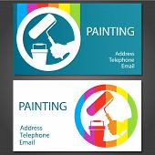 picture of interior decorator  - design business cards for painting business vector - JPG