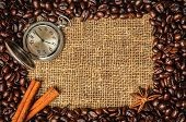 Coffe frame with clock, cinnamon and star anise