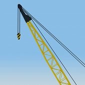 Crane boom against the blue sky