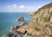 stock photo of sark  - Coastal scene on Sark looking out over the English Channel